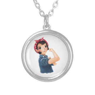 rosie the riveter women we can do it! WWII Round Pendant Necklace