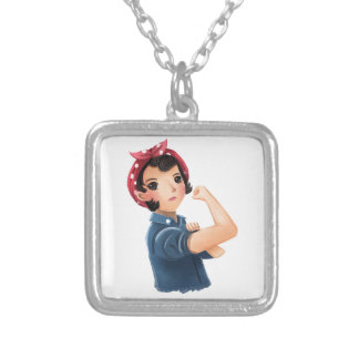 rosie the riveter women we can do it! WWII Square Pendant Necklace