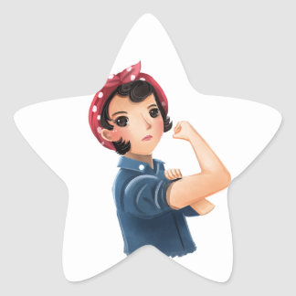 rosie the riveter women we can do it! WWII Star Sticker