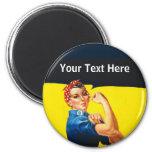 Rosie The Riveter WW2 War Effort Working Woman 2 Inch Round Magnet