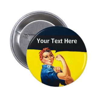 Rosie The Riveter WW2 War Effort Working Woman Button