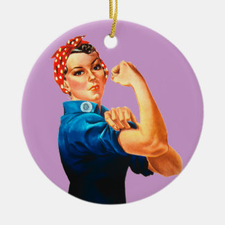 Rosie The Riveter WWII Poster Ceramic Ornament