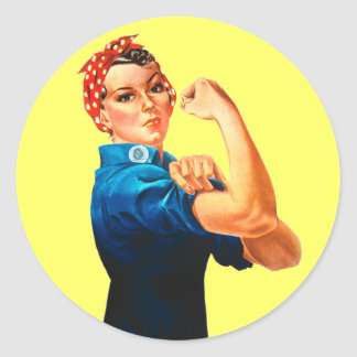 Rosie The Riveter WWII Poster Classic Round Sticker