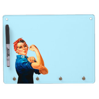 Rosie The Riveter WWII Poster Dry Erase Board With Keychain Holder