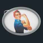 "Rosie The Riveter WWII Poster Oval Belt Buckle<br><div class=""desc"">Rosie The Riveter WWII Poster</div>"