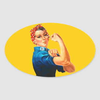 Rosie The Riveter WWII Poster Oval Sticker