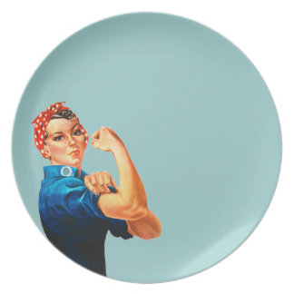 Rosie The Riveter WWII Poster Party Plates