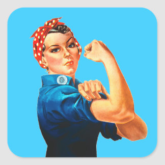 Rosie The Riveter WWII Poster Square Sticker