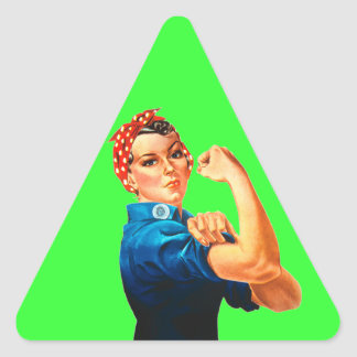 Rosie The Riveter WWII Poster Triangle Sticker