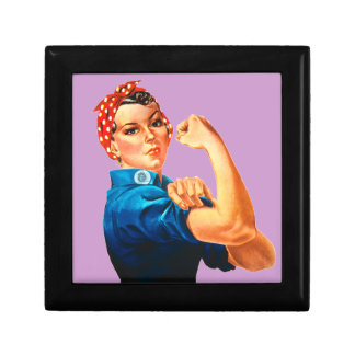 Rosie The Riveter WWII Poster Trinket Boxes