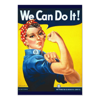 Rosie Vintage we can do it! 5x7 Paper Invitation Card