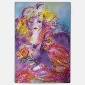ROSINA /Young Girl with Rose and Parrot Post-it Notes