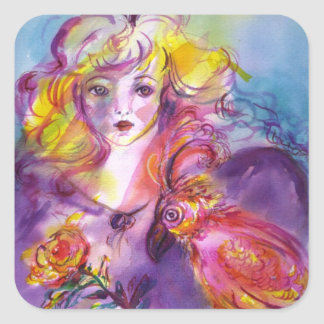 ROSINA /Young Girl with Rose and Parrot Square Sticker
