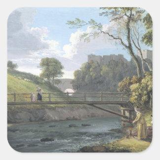 Roslin Castle, Midlothian (w/c and gouache on pape Square Sticker