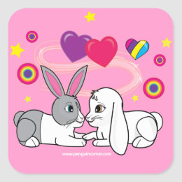 Ross and Curia: Bunnies in Love Square Sticker
