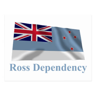 Ross Dependency Waving Flag with Name Postcard