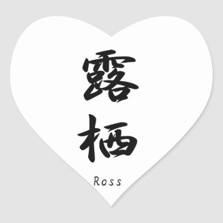 Ross translated into Japanese kanji symbols. Heart Stickers