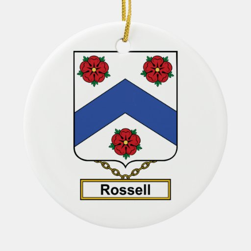 Rossell Family Crest Double-Sided Ceramic Round Christmas Ornament