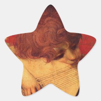 Rosso Fiorentino Musician Angel Star Sticker