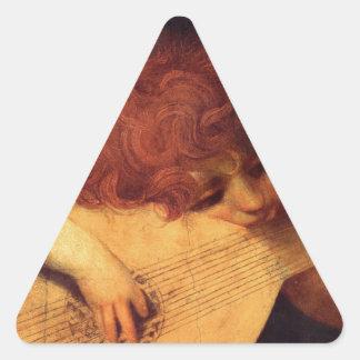 Rosso Fiorentino Musician Angel Triangle Sticker