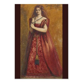 """Rosso Vestita de Dante Gabriel Rossetti Invitación 5"""" X 7"""""""