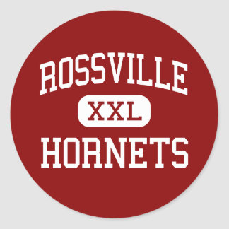 Rossville - avispones - centro - Rossville Indiana Pegatina Redonda
