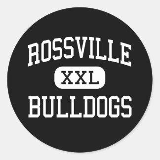 Rossville - dogos - alto - Rossville Kansas Pegatina Redonda
