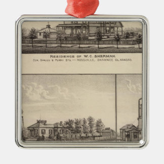 Rossville, Kansas Square Metal Christmas Ornament