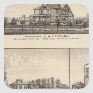Rossville, Kansas Pegatina Cuadrada