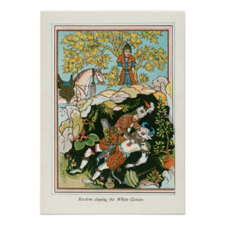 Rostam slaying the White Genie Poster