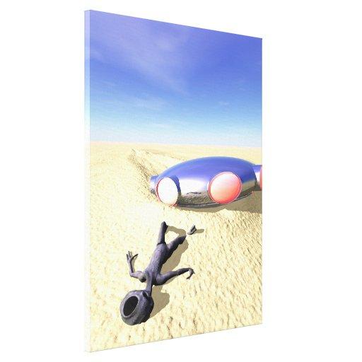 Roswell Like UFO Crash Stretched Canvas Print