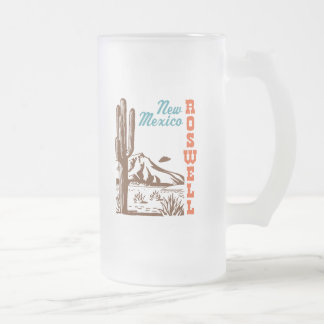 Roswell New Mexico Frosted Glass Beer Mug