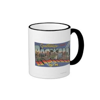 Roswell, New Mexico - Large Letter Scenes Ringer Mug
