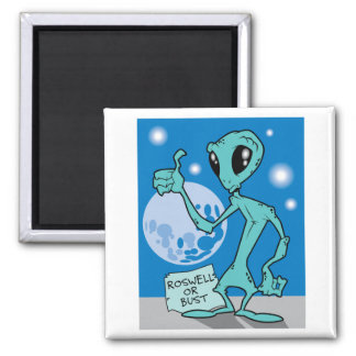 Roswell Or Bust 2 Inch Square Magnet