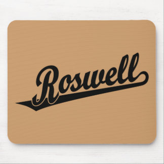Roswell script logo in black mouse pad