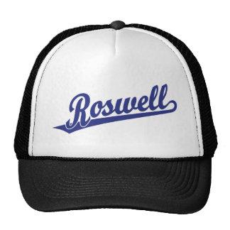 Roswell script logo in blue hat