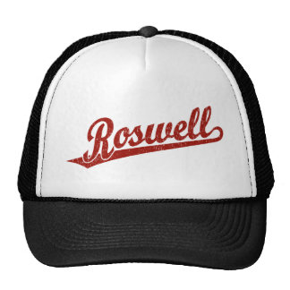 Roswell script logo in red distressed hats