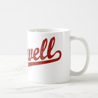 Roswell script logo in red distressed mug