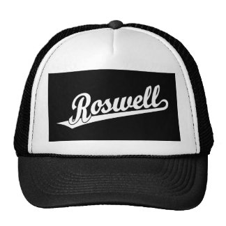 Roswell script logo in white mesh hats