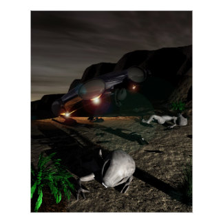 Roswell UFO Crash at Night Poster