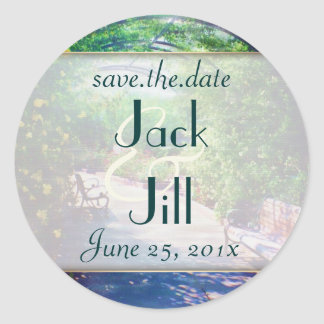 Rosy Bower WEDDING Save the Date Classic Round Sticker