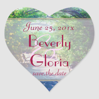 Rosy Bower WEDDING Save the Date Heart Sticker
