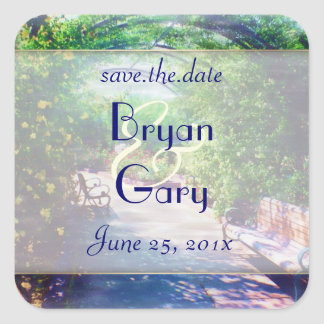 Rosy Bower WEDDING Save the Date Square Sticker