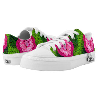 Rosy Bright and Hot Pinks Floral Greens Crochet Low-Top Sneakers