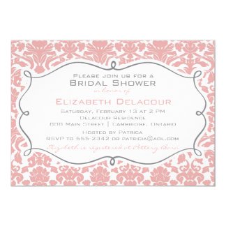 Rosy Brown Damask Pattern Bridal Shower Invitation