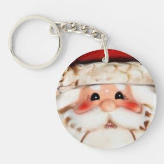 Rosy Cheeked Santa Claus Face Single-Sided Round Acrylic Keychain