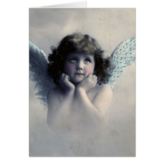 Rosy Cheeked Vintage Angel in Clouds Card
