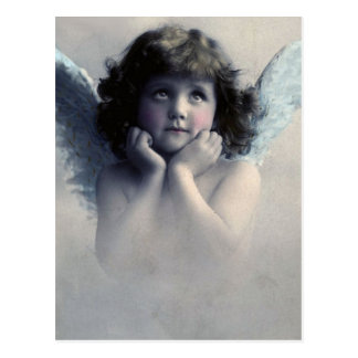 Rosy Cheeked Vintage Angel in the Clouds Postcard