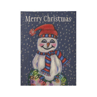 Rosy Cheeks Christmas Snowman Shining Lights Wood Poster