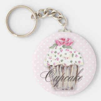Rosy Cupcake on Pink Keychain
